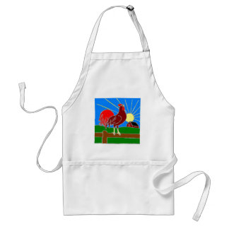 rooster and sun adult apron