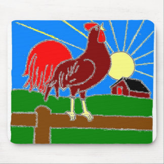 Rooster and Sun Mousepad