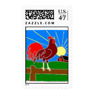 rooster and sun postage stamp