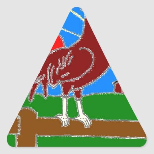 rooster and sun triangle sticker