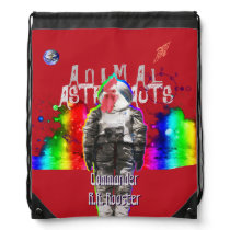 Rooster Animal Astronaut in Rainbow Universe Drawstring Bag