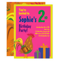 Rooster Animal Kid's Birthday Party Invitations