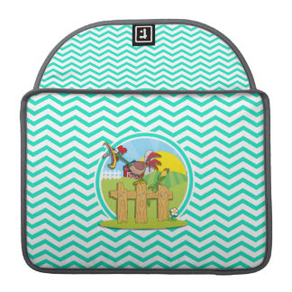 Rooster; Aqua Green Chevron Sleeve For MacBooks