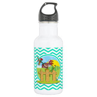 Rooster; Aqua Green Chevron Stainless Steel Water Bottle