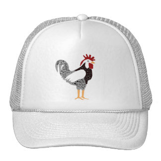 Rooster art: Wyandotte black lacy chicken gifts Mesh Hats