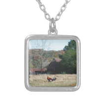 Rooster at the Farm Photo by Sandy Closs. Silver Plated Necklace
