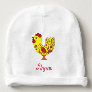 Rooster Baby Cotton Beanie with name