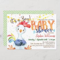 Rooster Baby Shower invitation, Boy, Farm Invitation