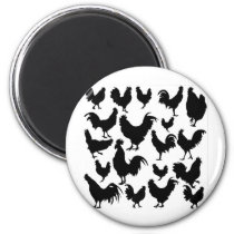 Rooster  black shadow  animals magnet