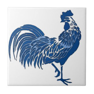 Rooster, Blue Dutch Delft Look Tile