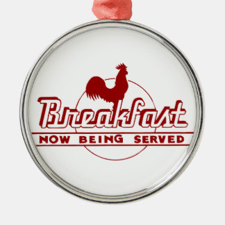Rooster Breakfast Round Metal Christmas Ornament