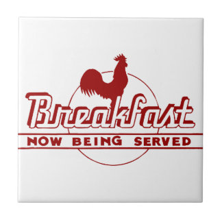 Rooster Breakfast Small Square Tile