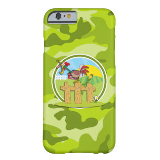 Rooster; bright green camo, camouflage barely there iPhone 6 case
