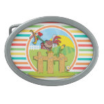 Rooster; Bright Rainbow Stripes Belt Buckles