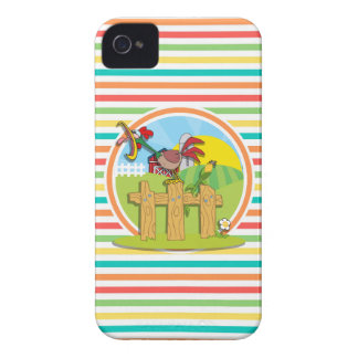 Rooster; Bright Rainbow Stripes iPhone 4 Case-Mate Case