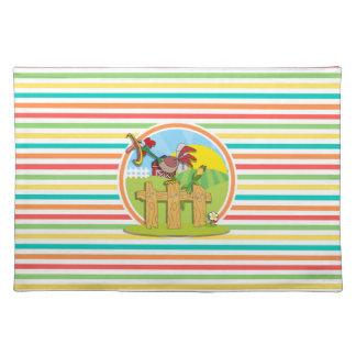 Rooster; Bright Rainbow Stripes Placemat