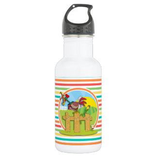 Rooster; Bright Rainbow Stripes Water Bottle