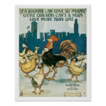 Rooster Can Love Vintage Music Art Poster