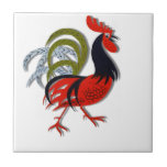 Rooster Cartoon Animated Customize Red Small Square Tile