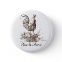 Rooster charming sepia tone illustration button