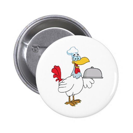 Rooster Chef Serving Food In A Sliver Platter Buttons