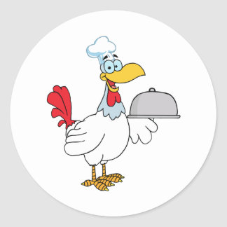 Rooster Chef Serving Food In A Sliver Platter Classic Round Sticker
