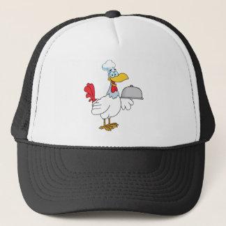 Rooster Chef Serving Food In A Sliver Platter Trucker Hat