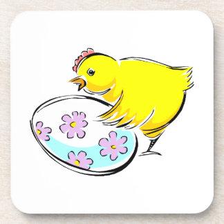 Rooster chick flowered egg design.png coaster