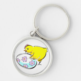 Rooster chick flowered egg design.png keychain