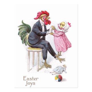 Rooster & Chick Vintage Easter Postcard