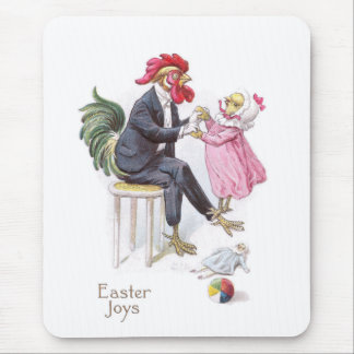 Rooster & Chick Vintage Easter Postcard Mouse Pad