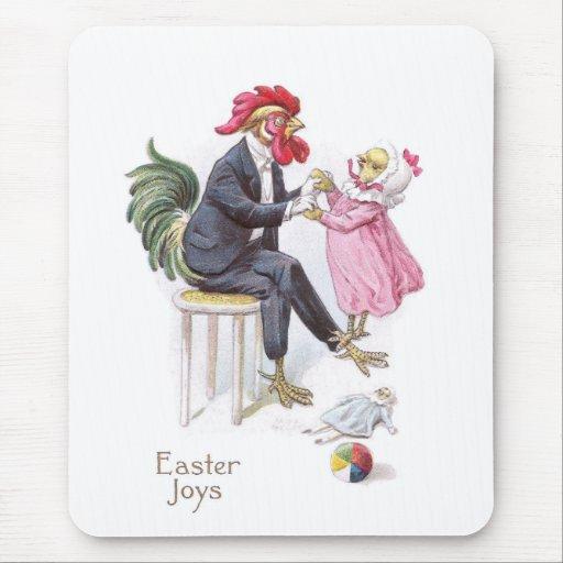 Rooster & Chick Vintage Easter Postcard Mousepad