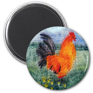 Rooster Chicken Art 2 Inch Round Magnet