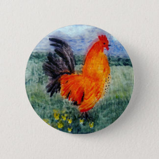 Rooster Chicken Art Button