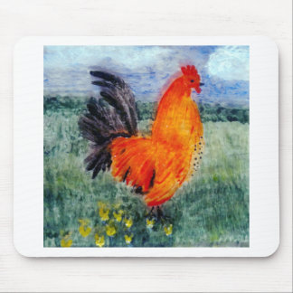 Rooster Chicken Art Mouse Pad