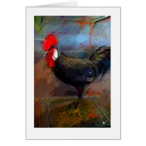 Rooster Chicken Art Print Note Card-Blank Card