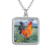 Rooster Chicken Art Silver Plated Necklace