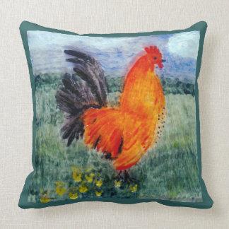 Rooster Chicken Art Throw Pillow