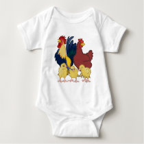 Rooster Chicken & Chicks Baby Bodysuit