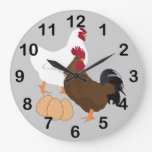 Rooster Chicken Eggs RoundWall Clock