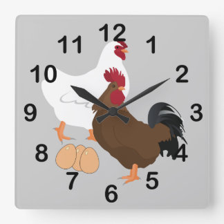 Rooster Chicken Eggs Square Wall Clock