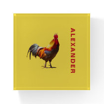 Rooster Chicken Fun Personal Yellow Paperweight