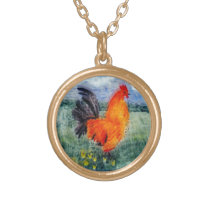 Rooster Chicken Painting Gold Plated Necklace