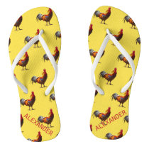 Rooster Chicken  Personal Fun Yellow Flip Flops