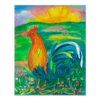 Rooster Chicken Watercolor Painting Poster