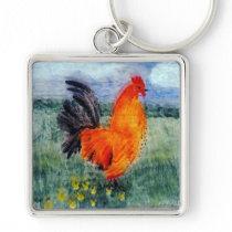 Rooster Cockerel Art Chicken Keychain