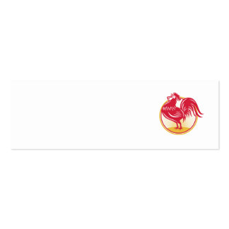 Rooster Cockerel Crowing Retro Double-Sided Mini Business Cards (Pack Of 20)