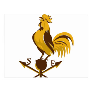rooster cockerel crowing retro postcard
