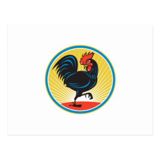Rooster Cockerel Marching Side Retro Postcard