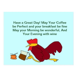 Rooster Coffee Great Day Postcard
